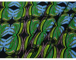Плательная ткань черная с зеленым абстрактный принт
