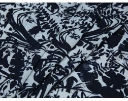 Плательная ткань бело-синяя принт листья