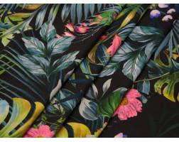 Плательная ткань хлопковая черная тропический принт