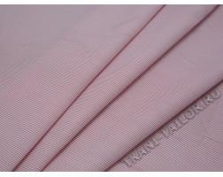 Плательная ткань хлопковая бело-розовая полоска