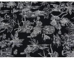 Плательная ткань хлопковая черная с белым принтом