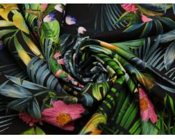 Плательная ткань хлопковая черная принт тропики