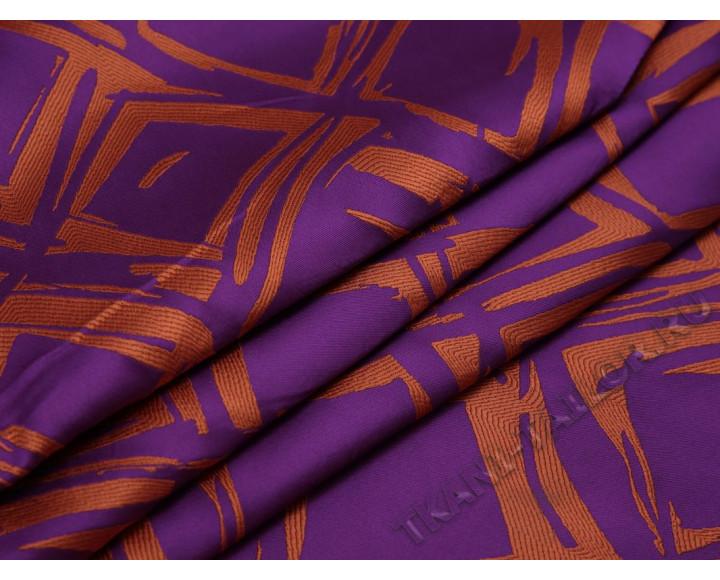 Плательная ткань фиолетовая с оранжевым принтом