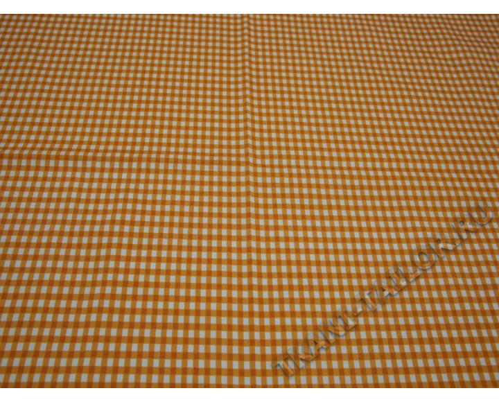Плательная ткань хлопковая клетка виши оранжевая