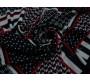 Плательная ткань черная красно-белый принт