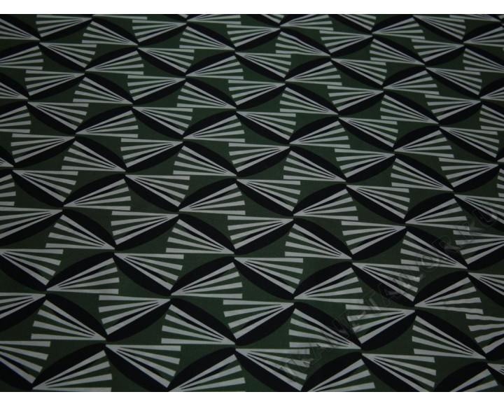 Плательная ткань бело-зеленый геометрический принт