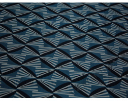 Плательная ткань бело-голубой геометрический принт