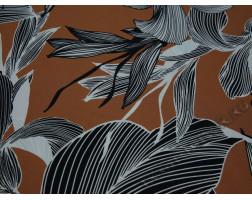Плательная ткань коричневая черно-белый принт