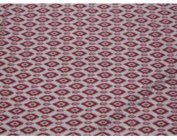 Плательная ткань вискозная белая с красным принтом