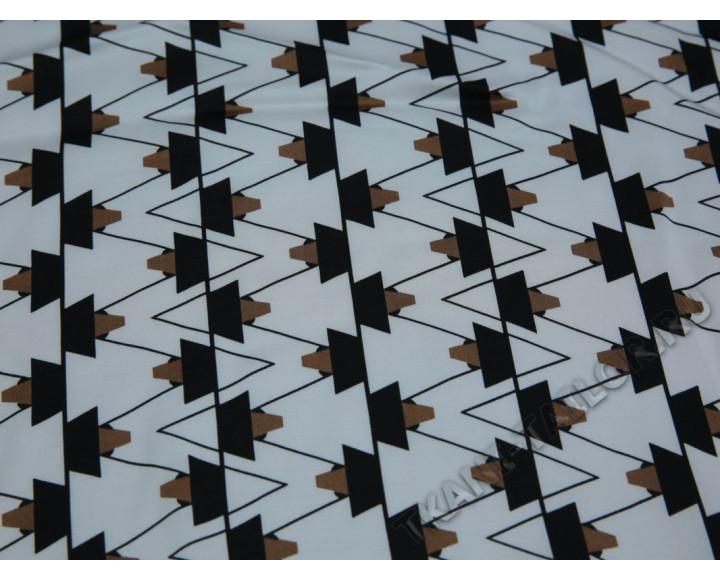 Плательная ткань вискозная белая черно-коричневый принт