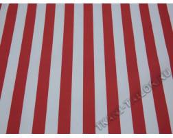 Плательная ткань красно-белая полоска