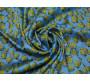 Плательная ткань голубая с цветным принтом