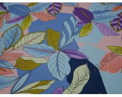 Плательная ткань разноцветная принт листья