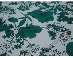 Плательная ткань белая принт зеленые цветы