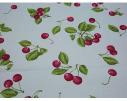 Плательная ткань хлопковая белая принт вишня