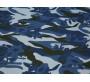 Плательная ткань темно-синяя с белыми цветами