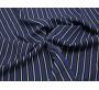 Рубашечная ткань хлопковая синяя в белую полоску