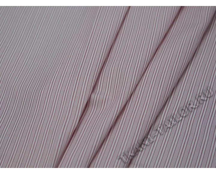 Рубашечная ткань хлопковая розовая в белую полоску