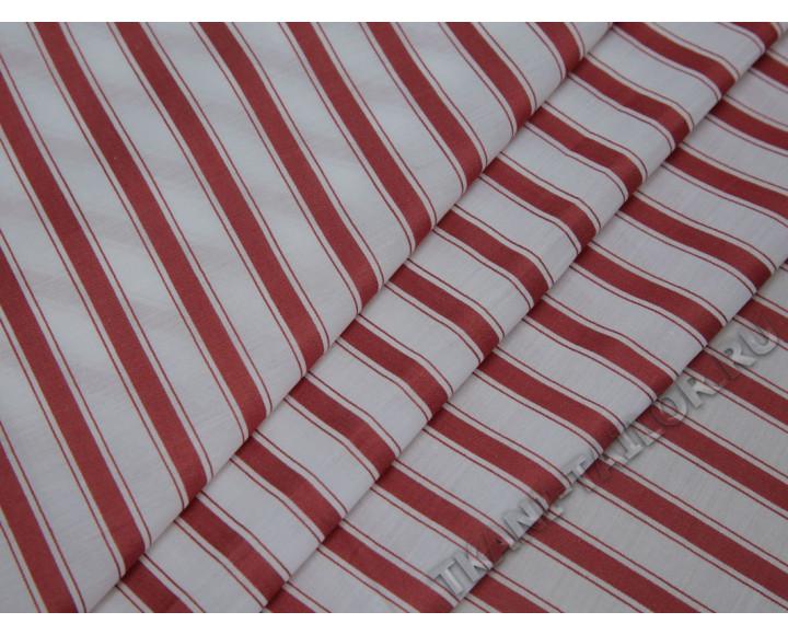 Рубашечная ткань хлопковая белая в красную полоску