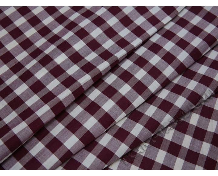 Рубашечная ткань хлопковая серо-бордовая клетка