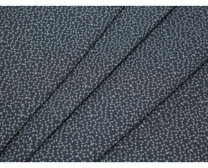 Рубашечная ткань хлопковая серая с белыми треугольниками