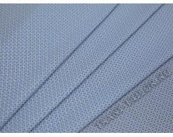 Рубашечная ткань хлопковая белая мелкий геометрический принт синего цвета