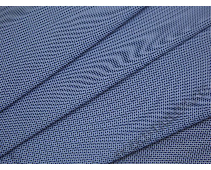 Рубашечная ткань хлопковая белая в сине-голубой горох