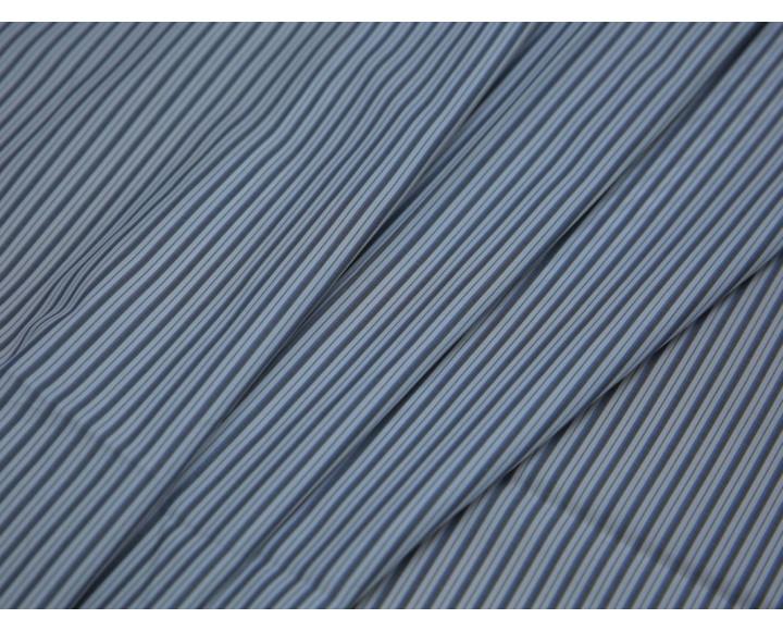 Рубашечная ткань хлопковая серо-белая полоска