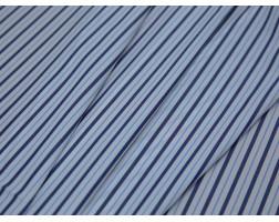 Рубашечная ткань хлопковая белая в синюю полоску