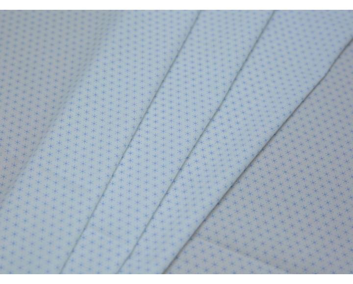 Рубашечная ткань хлопковая белая мелкий голубой принт