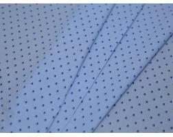 Рубашечная ткань хлопковая голубая в синий горох