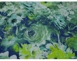 Бифлекс сине-зеленый цветочный принт