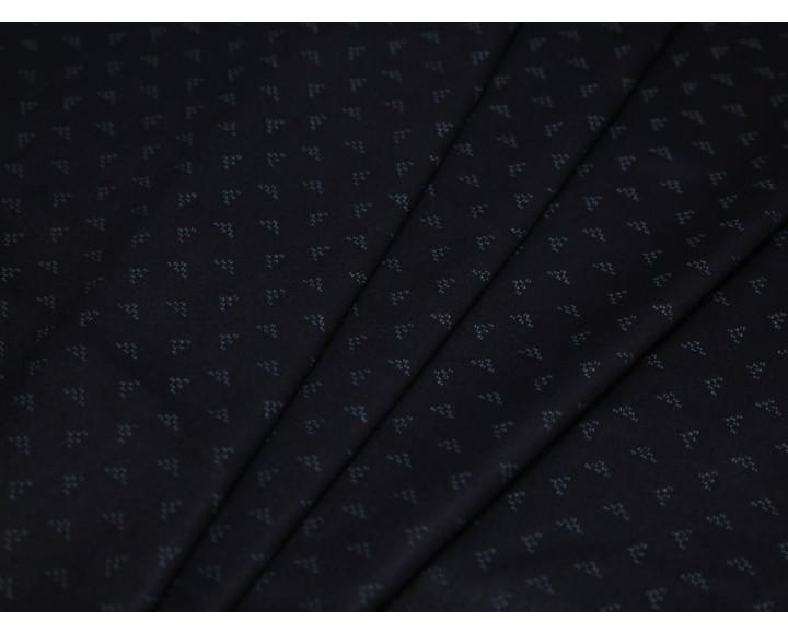 Джинсовая ткань черная мелкий принт треугольники