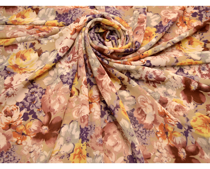 """Шифон """"Разноцветные цветы"""" Г5А-00064"""