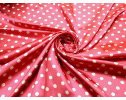 """Атлас набивной """"Горох на розовом"""" Б6В-00007"""